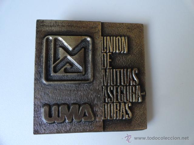 PLACA MEDALLA INAGURACIO OFICINES ZONA TERRASSA 1985 UMA(UNION MUTUAS ASEGURADORAS) SEGUROS (Numismática - Medallería - Temática)