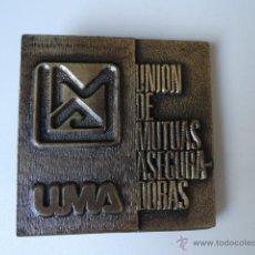 Medallas temáticas: PLACA MEDALLA INAGURACIO OFICINES ZONA TERRASSA 1985 UMA(UNION MUTUAS ASEGURADORAS) SEGUROS. Lote 44287597