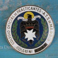 Medallas temáticas: ANTIGUA Y PRECIOSA CHAPA ESMALTADA AL FUEGO - COLEGIO OFICIAL PRACTICANTES ATS DE MADRID - FRANCO. Lote 45101908