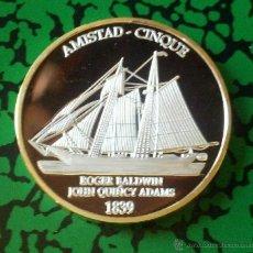 Medallas temáticas: BONITA MONEDA ORO Y PLATA DEL BARCO AMISTAD CINQUE 1839 BASADA EN UNA HISTORIA REAL. Lote 54192294