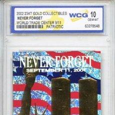 Medallas temáticas: LINGOTE CARTA DE ORO 23KT CONMEMORATIVA ATENTADO EN NUEVA YORK A LAS TORRES GEMELAS EN 2001. Lote 51727324