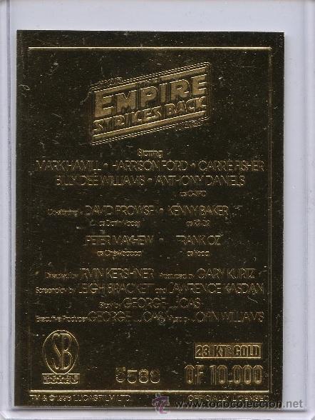 Medallas temáticas: LINGOTE CARTA DE ORO 23KT STAR WARS EMPIRE EDICION LIMITADA Y NUMERADA - Foto 2 - 160917365