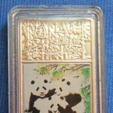 Medallas temáticas: MONEDA LINGOTE CHINO ALEACION CON PLATA PURA CHINA GIANT PANDAS LOS PANDAS PIEZA MUY INTERESANTE. Lote 62413104