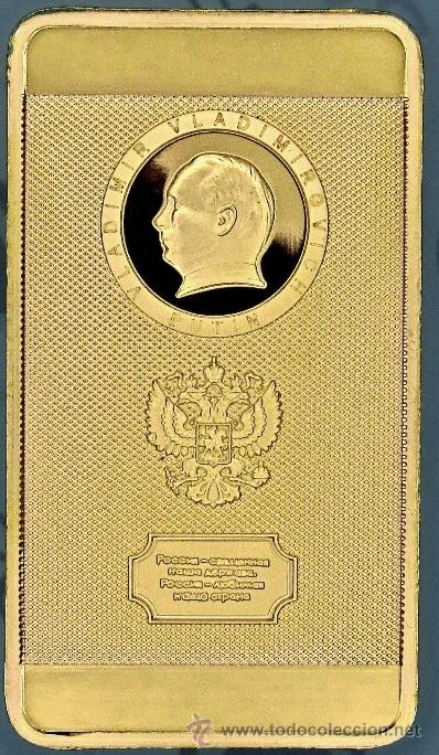 Medallas temáticas: LINGOTE ORO 24K VLADIMIR PUTIN RUSIA KREMLIN EDICION LIMITADA EN RELIEVE MUY BONITO - Foto 2 - 132359631