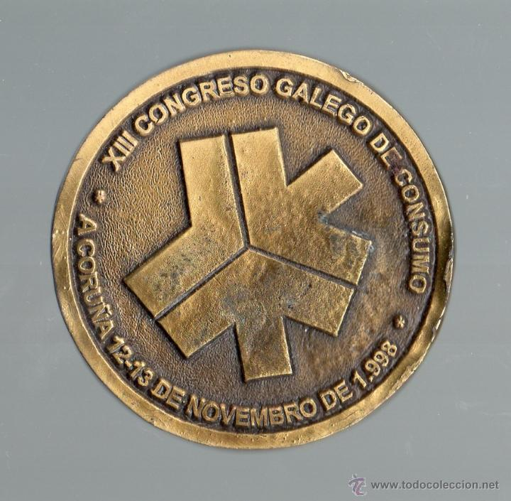 Medallas temáticas: XIII Congreso Gallego de Consumo. A Coruña, 12 - 13 de novembro de 1998. - Foto 2 - 48686873