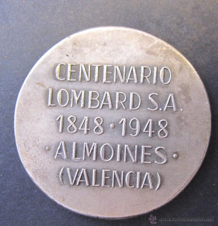 Medallas temáticas: MEDALLA CENTENARIO LOMBARD. FABRICA DE SEDA. ALMOINES VALENCIA 1848 - 1948. DIAM. 3,5 CM - Foto 3 - 49429917