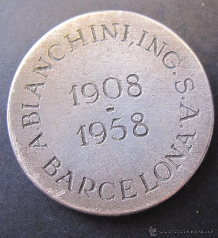 Medallas temáticas: MEDALLA A. BIACHINI INGENIEROS. BARCELONA 1908 - 1958. DIAM. 3 CM - Foto 2 - 49429986