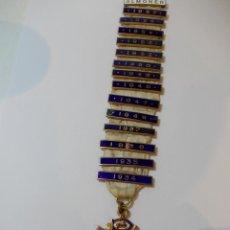 Medallas temáticas: ANTIGUA Y ESPECTACULAR MEDALLA MASONICA LONDRES DE OFICIAL MASON Y AÑOS EN METAL DORADO ESMALTADO. Lote 49498015