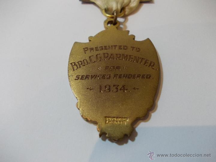 Medallas temáticas: ANTIGUA Y ESPECTACULAR MEDALLA MASONICA londres de oficial mason y años EN METAL DORADO ESMALTADO - Foto 7 - 49498015