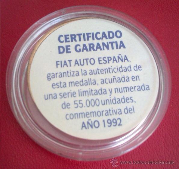Medallas temáticas: MONEDA DE LA FIAT SERIE LIMITADA Y NUMERADA AÑO 1992 EN SU CAPSULA PROTECTORA - Foto 2 - 50335780