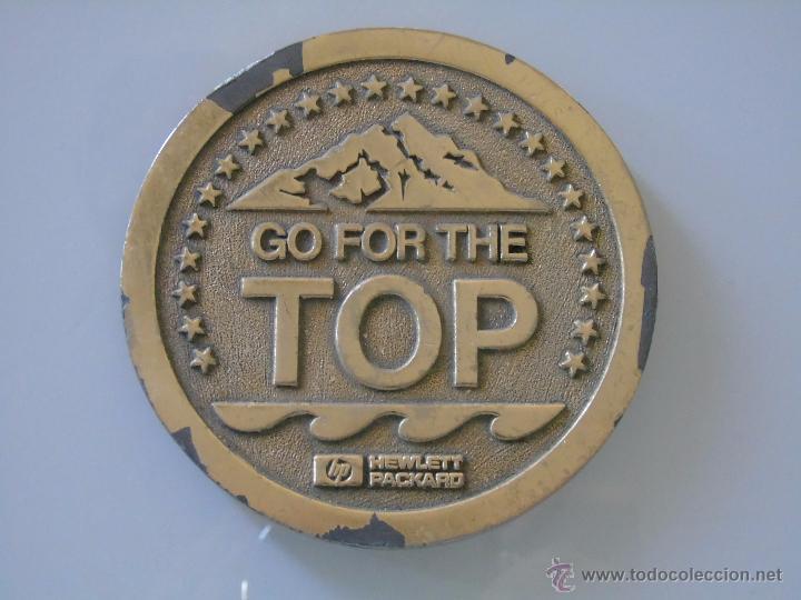 Usado, MEDALLA MEDALLÓN DE INFORMÁTICA. GO FOR THE TOP HP. HEWLETT PACKARD. ORDENADORES, IMPRESORAS. 1988 segunda mano