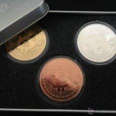 Medallas temáticas: LOTE DE 3 MONEDAS BITCOIN U.S.A ORO PLATA Y COBRE GRANDES,EN CAJA METALICA Y CAPSULAS PROTECTORAS. Lote 50524803