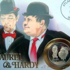 Medallas temáticas: BONITA MONEDA DE PLATA DE LA PAREJA COMICA EL GORDO Y EL FLACO PARA EL 100 ANIVERSARIO OLIVER HARDY. Lote 50856263