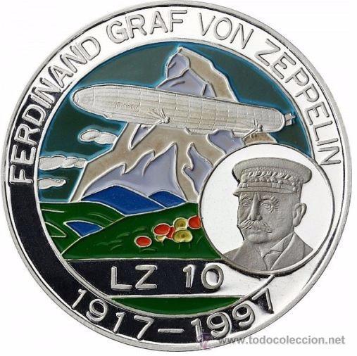 BONITA MONEDA DE PLATA FERDINAND GRAF VON ZEPPELIN LZ10 1917-1997 BENIN 500 FRANCS (Numismática - Medallería - Temática)