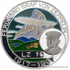 Medallas temáticas: BONITA MONEDA DE PLATA FERDINAND GRAF VON ZEPPELIN LZ10 1917-1997 BENIN 500 FRANCS. Lote 51007751