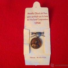 Medallas temáticas: MEDALLA OFICIAL EN BRONCE DEL PEREGRINO APROBADA POR LA JUNTA DEL AÑO SANTO COMPOSTELANO, 1954.. Lote 51205507