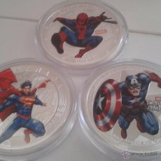 Medallas temáticas: INTERESANTE LOTE 3 MONEDAS PLATA Y COLOR HEROES MARVEL SPIDERMAN SUPERMAN Y CAPITAN AMERICA. Lote 158266729