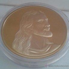 Medallas temáticas: BONITA MONEDA RELIGIOSA CON LA IMAGEN DE JESUS Y LA ULTIMA CENA EN RELIEVE CON ORO 24KT. Lote 51243762