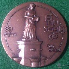 Medallas temáticas: MEDALLA FINUSGAB - FUENTES BARCELONA - COBRE 50MM. 1998.. Lote 51703197