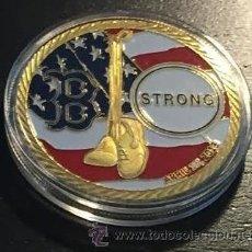 Medallas temáticas: BONITA MONEDA ORO CONMEMORATIVA A LOS ATENTADOS DE LA MARATON BOSTON Y LAS TORRES DE NUEVA YORK. Lote 106612928