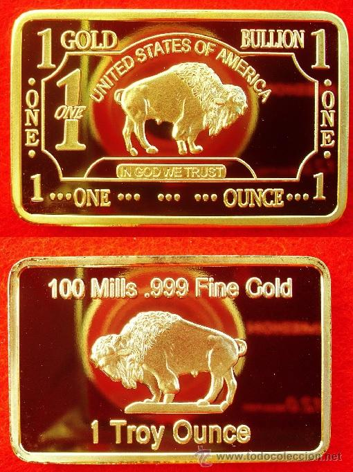 LINGOTE ORO 24KT DE UN SIMBOLO DE ESTADOS UNIDOS EL BUFFALO AMERICANO (Numismática - Medallería - Temática)