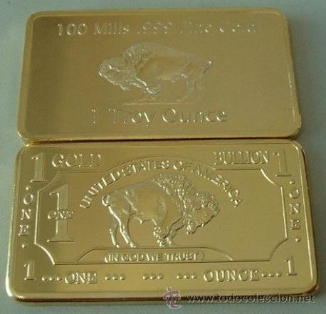 Medallas temáticas: LINGOTE ORO 24KT DE UN SIMBOLO DE ESTADOS UNIDOS EL BUFFALO AMERICANO - Foto 2 - 115067146