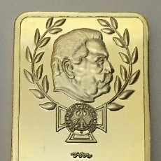 Medallas temáticas: LINGOTE ALEMANIA NAZI ORO 24KT PAUL VON HINDENBURG DEUTSCHE REICHSBANK EDICION LIMITADA Y NUMERADA. Lote 102943535