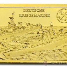 Medallas temáticas: LINGOTE ALEMANIA NAZI ORO 24KT DEUTSCHE KRIEGSMARINE BUQUE DE GUERRA EDICION LIMITADA Y NUMERADA. Lote 122939555