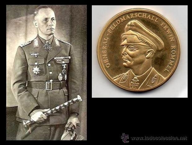 MONEDA DE BRONZE CHAPADA CON ORO ALEMANIA DEL GENERAL FELDMARSCHALL ERWIN ROMMEL (Numismática - Medallería - Temática)