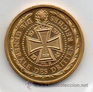 Medallas temáticas: MONEDA DE BRONZE CHAPADA CON ORO ALEMANIA DEL GENERAL FELDMARSCHALL ERWIN ROMMEL - Foto 2 - 53179545