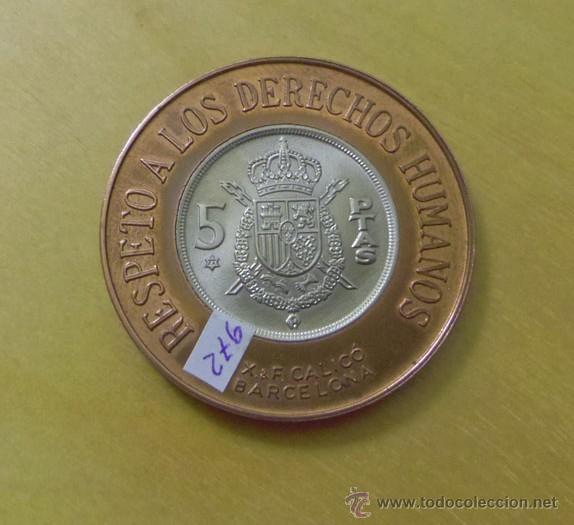 Medallas temáticas: Medalla 5 pesetas Reincorporación Internacional de España Respeto a los derechos humanos - Foto 2 - 53428644