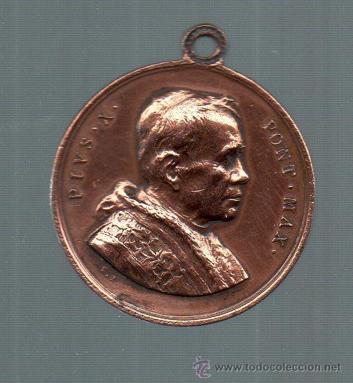 MEDALLA ANTIGUA DEL PAPA PIO X. (Numismática - Medallería - Temática)