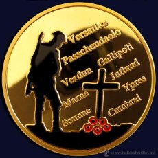 Medallas temáticas: INTERESANTE MONEDA CONMEMORATIVA A LA GRAN GUERRA 1914-1918 BAÑO DE ORO 24KT Y COLOR. Lote 214882397