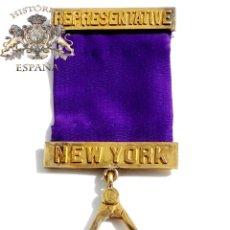 Medallas temáticas: MEDALLA MASONICA REPRESENTATIVE NEW YORK - EN PLATA DORADA. Lote 54791873