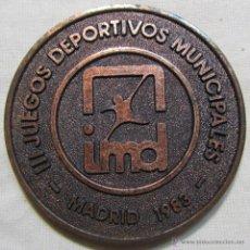 Medallas temáticas: MEDALLA DE BRONCE III JUEGOS DEPORTIVOS MUNICIPALES MADRID 1983. Lote 54792470