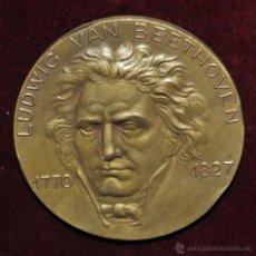 Medallas temáticas: MEDALLA EN BRONCE DORADO DEDICADA A LUDWIG VAN BEETHOVEN (1770 - 1827) DE CALICO. AÑO 1969. Lote 55057901