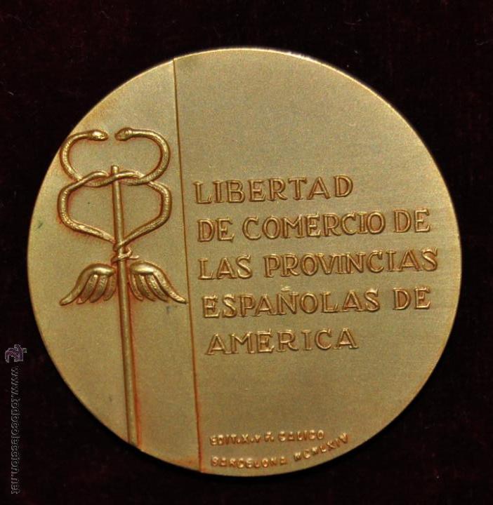 Medallas temáticas: MEDALLA CONMEMORATIVAS DE LA LIBERTAD DE COMERCIO D LAS PROVINCIAS ESPAÑOLAS DE AMERICA. CALICO 1964 - Foto 2 - 55063151