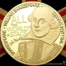 Medallas temáticas: BONITA MONEDA DE WILLIAM SHAKESPEARE 450TH ANIVERSARIO CON FRASES Y FIRMA. Lote 64699195
