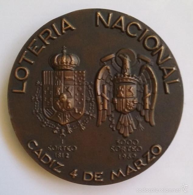 Medallas temáticas: Medalla Lotería Nacional 1969 conmemorativa 5000 sorteos, 1812-1969 - Foto 3 - 55940498
