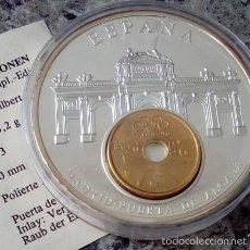Medallas temáticas: GRAN MONEDA PLATA CON LA MONEDA DE 25 PTAS INCRUSTADA Y LA PUERTA DE ALCALA MADRID DIAMETRO 50MM. Lote 56873688