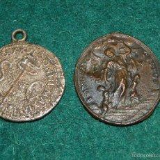 Medallas temáticas: ANTIGUA MEDALLA RELIGIOSA,SIN ANILLA,Y MONEDA DETERIORADA Y ANILLADA?. Lote 57118119