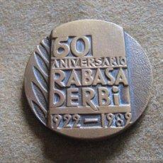 Medallas temáticas: MEDALLA 60 ANIV. RABASA DERBI CAMPEONA DEL MUNDO 1922-1982 BRONCE 53 MM MOTO MOTOCICLISMO. Lote 57281576