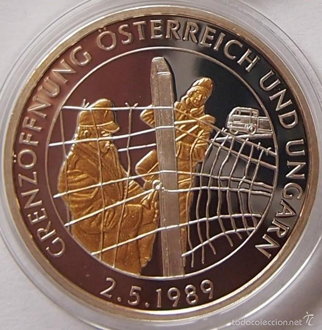 BONITA MONEDA PLATA Y ORO DE LA APERTURA DE FRONTERAS A AUSTRIA Y HUNGRIA 1989 EDICION LIMITADA (Numismática - Medallería - Temática)