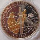 Medallas temáticas: BONITA MONEDA PLATA Y ORO DE LA APERTURA DE FRONTERAS A AUSTRIA Y HUNGRIA 1989 EDICION LIMITADA. Lote 57904045