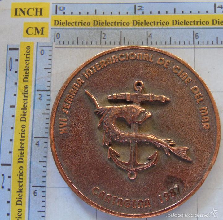 MEDALLA MEDALLÓN. XVI SEMANA INTERNACIONAL DE CINE DEL MAR. CARTAGENA 1987 MURCIA. 110 GR (Numismática - Medallería - Temática)