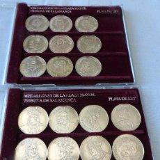 Medallas temáticas: COLECCIÓN DE 21 MONEDAS DE PLATA DE LOS MEDALLONES DE LA PLAZA MAYOR DE SALAMANCA - TOTAL 155 GRAMOS. Lote 58648329