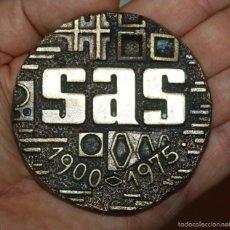 Medallas temáticas: MEDALLA 75 ANIVERSARIO SAS 1900 - 1975 GRAN FORMATO 75MM. 200GR. . Lote 60738179