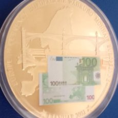 Medallas temáticas: GRAN MONEDA CON LA IMAGEN DE UN BILLETE DE 100 € DIAMETRO 50MM. Lote 61066214