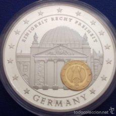 Medallas temáticas: PRECIOSA GRAN MONEDA CONMEMORATIVA AL 10 ANIVERSARIO DE LA UNION ECONOMICA Y MONETARIA PLATA Y ORO. Lote 61076579