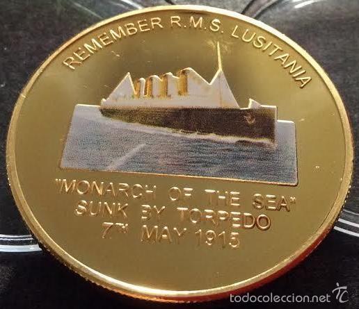 PRECIOSA MONEDA ORO CONMEMORATIVA A LA MEMORIA DEL TRANSATLANTICO LUSITANIA DIFICIL CONSEGUIR (Numismática - Medallería - Temática)